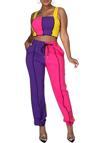 Conjunto de 2 piezas de conjuntos de colores para mujer Y2k PatchworkWorkout Tops sin mangas + pantalones deportivos