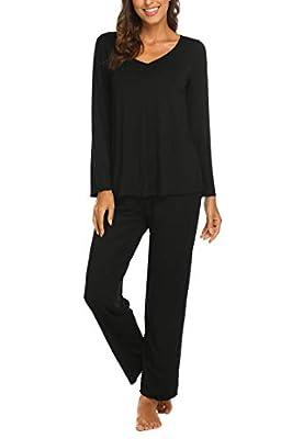 Ekouaer Sleepwear Women's Pajama Set 2 Piece Loungewear Cozy Nightwear Soft Pjs Black S