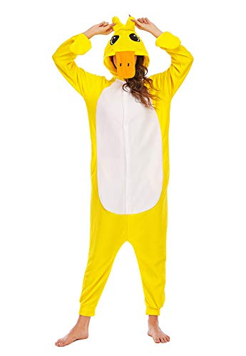 BGOKTA Disfraces de Cosplay para Adultos Pijamas de Animales One Piece Pato, L