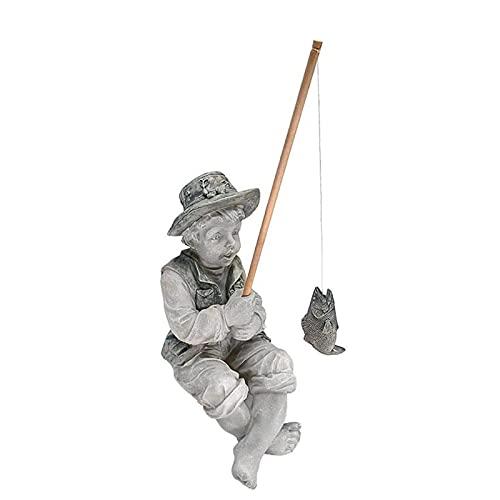 Dheera Boneco de resina estátua, garoto de pesca com postura sentada, ornamento de jardim basking in God's Glory pequena escultura para jardim ao ar livre, pátio, piscina