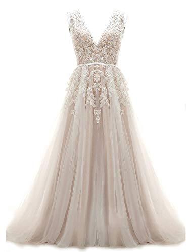 Ruolai Women's Wedding Dresses for Bride V Neck Lace Appliqued Keyhole Back Wedding Gowns 10