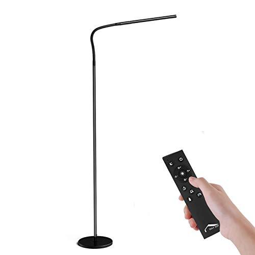 Lámpara de Pie, Wellwerks Lámpara LED 12W Luz Regulable (Control Táctil/Control Remoto) Lámpara con Cuello Flexible y Cuidado de Ojos para el Hogar, Sala de estar, Oficina, Escritorio,Dormitorio