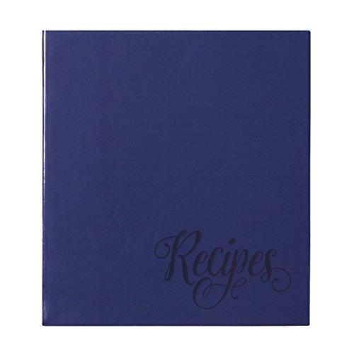 C.R. Gibson Livro de receitas Blue Provence Family com 3 anéis com divisórias e protetores de folha, 21 cm L x 24 cm A