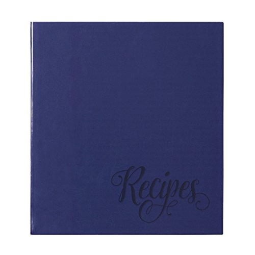 C.R. Gibson Blue Provence Family 3 Ring Recipe Book With Tabbed Dividers and Sheet Protectors, 8.94'' W x 9.38'' H