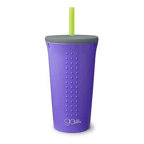 GoSili Eco-Friendly Reusable Silicone Straw Cup with Lid, Nontoxic and Dishwasher Safe, Violet, 16 oz., 1 count