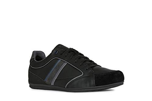 Geox Hombre Zapatos con Cordones Houston,Deportivos,con Cordones,para Exterior,Derby cordón,Deportivo,Removable Insole,Black/Anthracite,43 EU/9 UK
