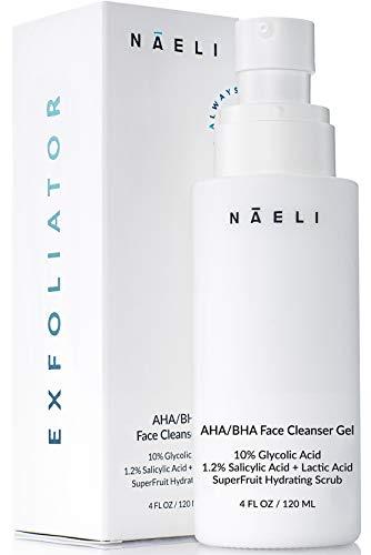 AHA / BHA Exfoliating Cleanser - 10% Glycolic Acid Face Wash with 1.2% Salicylic Acid & Lactic Acid - Anti Aging Facial Exfoliant, Toner & Pore Minimizer - Purifies, Reduces Acne & Wrinkles, 4 oz