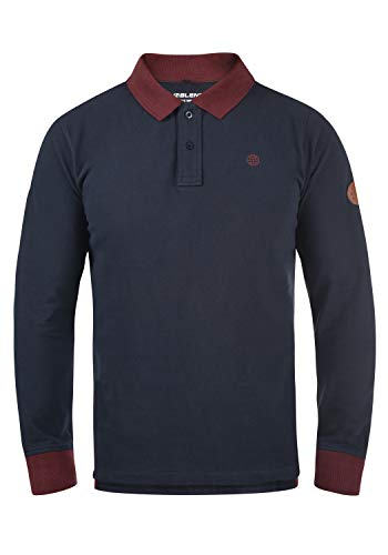 Blend Ralle Herren Longsleeve Poloshirt Langarmshirt Shirt Mit Polokragen Polohemd Aus 100% Baumwolle, Größe:L, Farbe:Dark Navy Blue (74645)