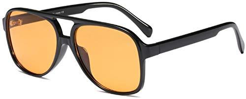 Retro Vintage Yellow 70s Orange Tinted Aviator Sunglasses for Women Oversized Lentes de Sol Trendy Black Square Shades Big Cool Night Vision Men Cute 90s Fashion Ladies 80s Large Flat Top Shady Rays