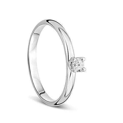 Orovi Anello Donna Solitario in Oro Bianco con Diamante Taglio Brillante Ct 0.10 Oro 9 Kt / 375