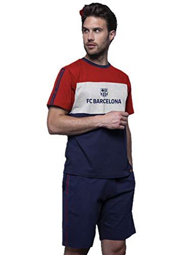 Pijama FC Barcelona Adulto Azul-Granate-Gris Manga Corta (M)