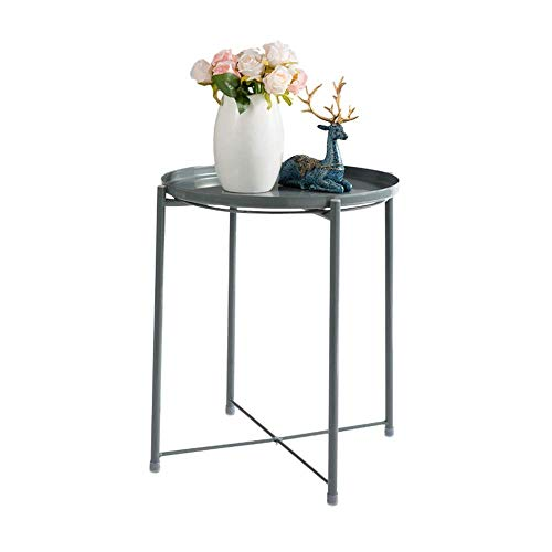 Tray Metal End Table, Sofa Table Small Round Side Tables, Anti-Rust And Waterproof Outdoor & Indoor Snack Table, Accent Coffee Table,(H) 20.28' X(D) 16.38',Gray