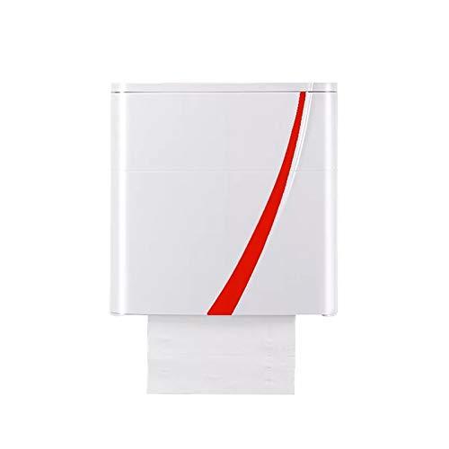 SYLOZ-URG Soporte para Papel higiénico, Caja de Almacenamiento de Pared autoadhesiva, portarrollos de Papel a Prueba de Agua/Polvo, para baño/Inodoro (Blanco) URG (Color : Red)