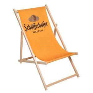 Schöfferhofer Weizen Liegestuhl Stuhl aus Holz Gartenliege Klappstuhl orange