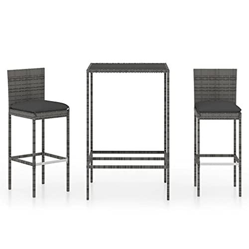 vidaXL Set da giardino da 3 pezzi, con cuscino, per bar, bancone, bar, bancone, tavolo da bar, sgabello, tavolo da bar e mobili da giardino in polyrattan grigio