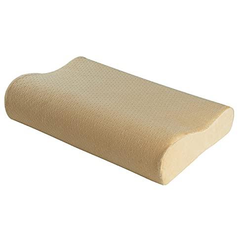 CNYG Almohadas suaves de espuma viscoelástica para soporte de cuello, almohadas ortopedicas de rebote lento para dormir, almohada de apoyo suave de color crema cervical 50 x 30 x 10/7 cm