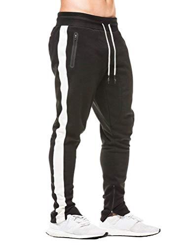 Tomwell Pantalon de Jogging Homme Casual Mode Training Pants Cordon de Serrage Long Cargo Pantalon de Survêtement Taille Élastique Couleur Unie Noir A Small