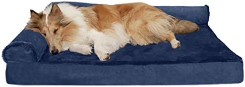 Furhaven Pet Dog Bed Deluxe Cooling Gel Memory Foam Plush and Velvet L Shaped Chaise Lounge product image