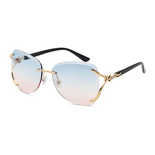 WOJING Gafas de Sol cuadradas sin Montura Gafas de Mujer Steampunk Punk Gafas de Sol Gafas oculos de so