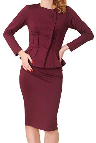 Marycrafts Women's Formal Office Business Shirt Jacket Skirt Suit 14 Burgundy