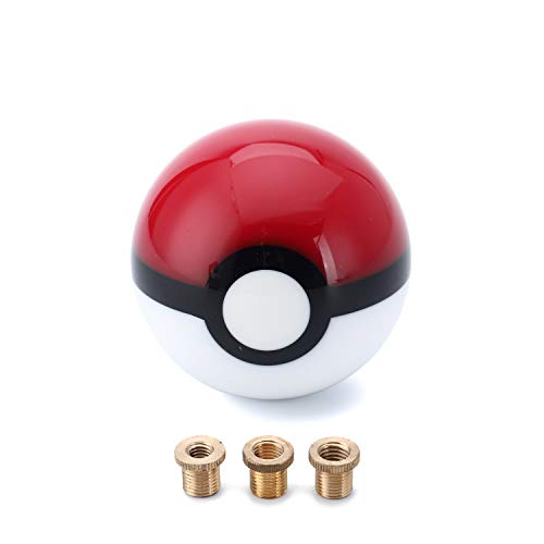 Pokeball Gear Shift Knob for 4 5 6 Speed 2.15 Inches for Most Car Models with Adapters