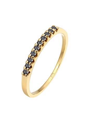 Elli PREMIUM Ring Damen Geo Schwarzer mit Diamant (0.20 ct.) in 375 Gelbgold