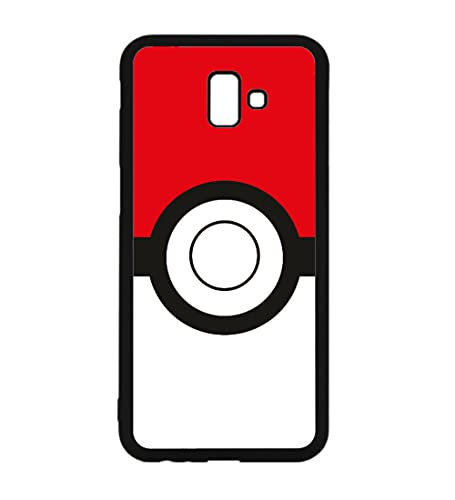 Coque pour Samsung Galaxy J6 Plus / J6 Prime Pokémon Go Pokeball - Coque Noire TPU Souple (Galaxy J6 Plus / J6 Prime)