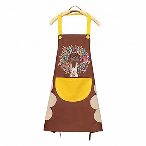 1 unids delantal para mujeres cocina limpieza a prueba de agua a prueba de aceite a prueba de aceite corona de dibujos animados conejo Cocina de uñas tienda delantal para mujeres accesorios para horne