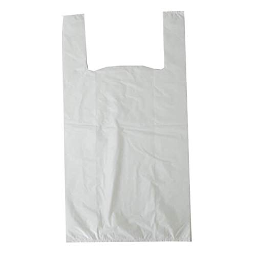 "Packitsafe 300 x White Carrier Bags Vest, Size Small 10"" x 15"" + 18"", Light Weight Plastic 101518300"