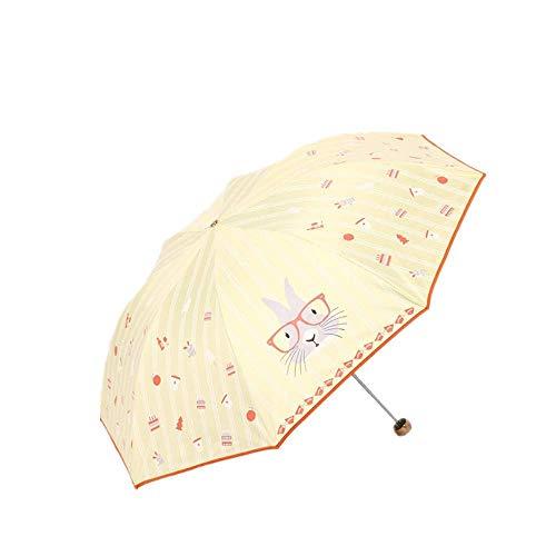 Paraguas plegable con protección solar para la lluvia y el sol, portátil (color: amarillo)