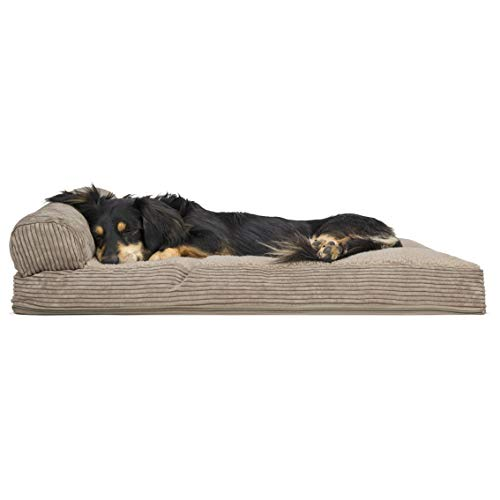 Furhaven Pet Dog Bed - Faux Fleece & Corduroy Deluxe Chaise Lounge Pillow Cushion Sofa-Style Living Room Couch Pet Bed w/Removable Cover for Dogs & Cats, Sandstone, Medium