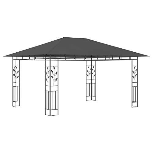 Goliraya Cenador con Mosquitera Carpa de Jardín Carpa Cenador para Exterior Color Gris Antracita 4x3x2,73 m 180 g/m²