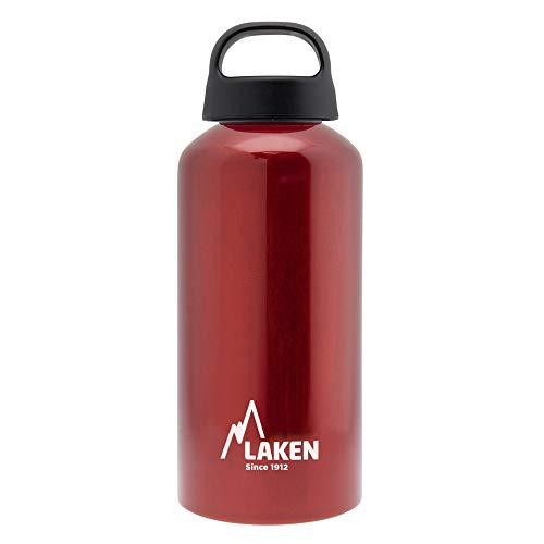 Laken Classic Botella de Agua Cantimplora de Aluminio con Tapón de Rosca y Boca Ancha, 0,6L Rojo