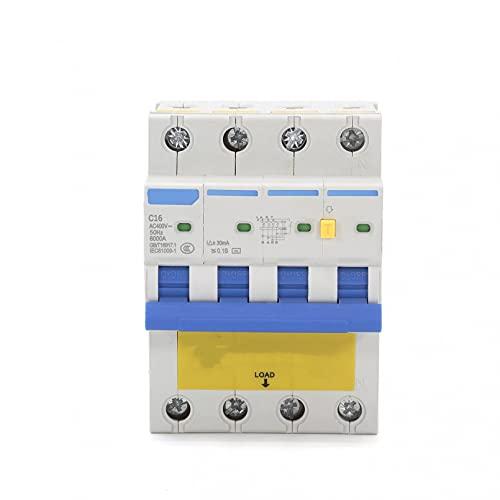 LUOXUEFEI Disyuntor Diferencial Interruptor Disyuntor Actual Residual De 4P 72M M 63A 6Ka 30Ma Con Sobrecorriente Y Fuga