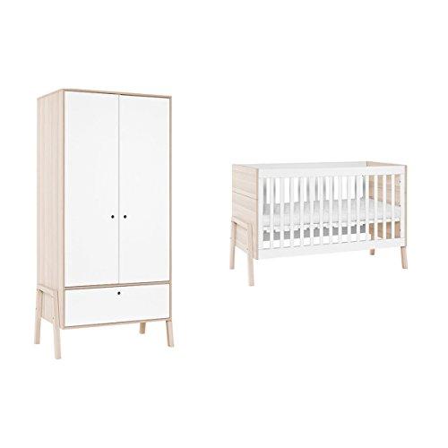 Lit bébé 60x120 et Armoire 2 portes Spot - Blanc