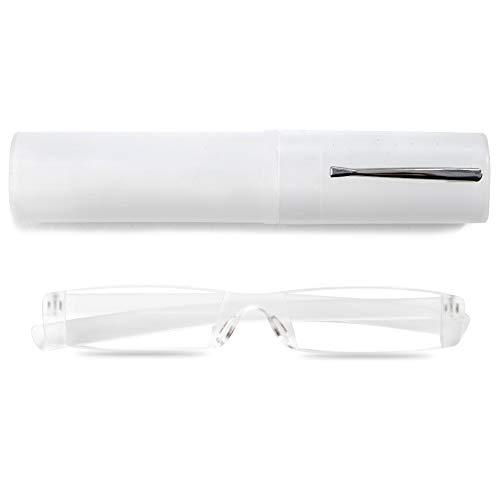 VEVESMUNDO® Randlos Lesebrille Damen Herren Lesehilfe Sehhilfe Augenoptik Mode Leicht Mit Etui Transparent Grau Blau Rosa Braun 1.0 1.5 2.0 2.5 3.0 3.5 4.0 (1 Stück Transparent, 1.5)