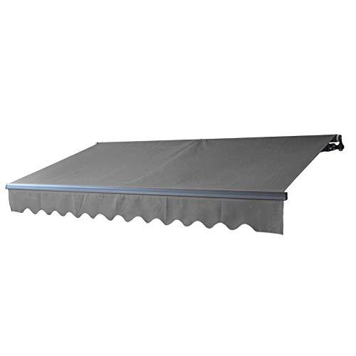 ALEKO ABM16X10GY80 Motorized Retractable Black Frame Patio Awning 16 x 10 Feet (Gray)