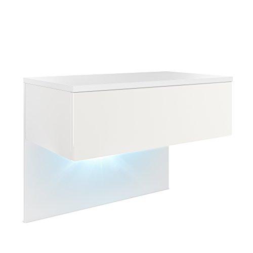 Mesa de Noche Sleep, Cuerpo en Blanco Mate/Frente y Lados en Blanco Mate con iluminación LED