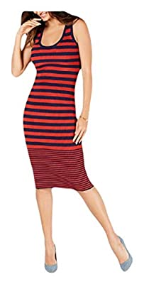 Michael Michael Kors Women's Striped Ribbed Knit Midi Length Tank Sweater Dress (True Navy/Bright Terra Cotta, Large)