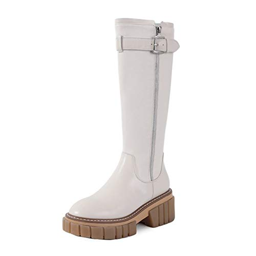 Women's Fashion Knee High Boot Ladies Classic Low Heel Platform High Boots, Round Toe Mid-Heel Side Zipper Knee-Length Boots, Cowhide Women's Boots (Color : White 1 Single Lining, Size : 36 EU)
