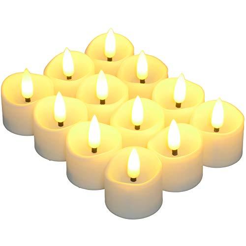 Flammenlose LED Kerzen mit Timer, PChero 12 Stk. Batteriebetriebene Elektrische Realistische Teelichter mit Flackernde Flamme für Hause Hochzeit Halloween Weihnachten Festival Party Dekoration