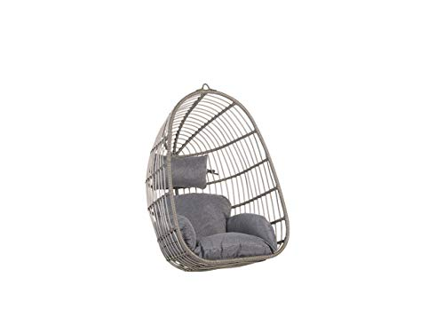 Beliani Boho Grey Rattan Hanging Chair without Stand Indoor-Outdoor Wicker Egg Shape Casoli
