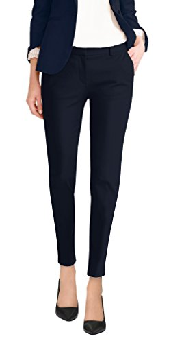 Womens Premium Stretch All Day Comfort Flat Front Trousers Pants PW31201T Navy 3