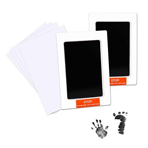 Almohadilla de Tinta para Bebé No Tóxica Kit de Huella Infantil con 4 Tarjetas de Impresión Extra Ideal para el Regalo y Registro de la Fiesta de Recién Nacidos de la Familia (Negro)
