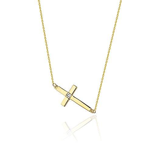 Collar de oro 585 de 14 quilates para mujer, oro amarillo, oro blanco, cadena con colgante de cruz, diamantes naturales y grabado