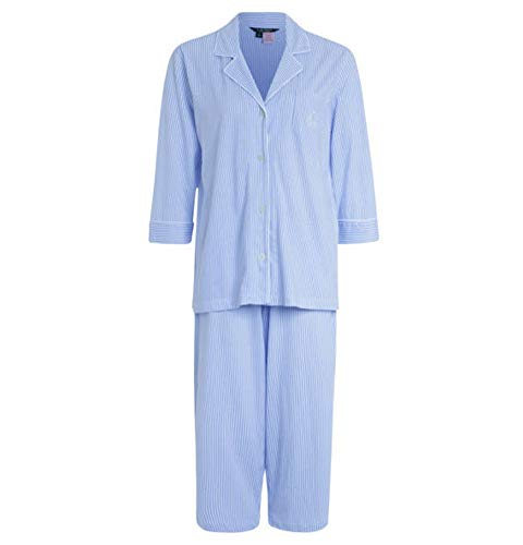 Ralph Lauren, Gestreifter Capri-Pyjama mit Knopfleiste, I819702 (XL, hellblau)