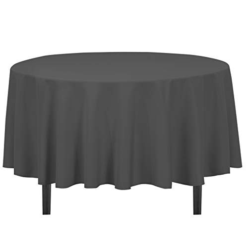 LinenTablecloth Round Polyester Tablecloth, 90-Inch, Charcoal