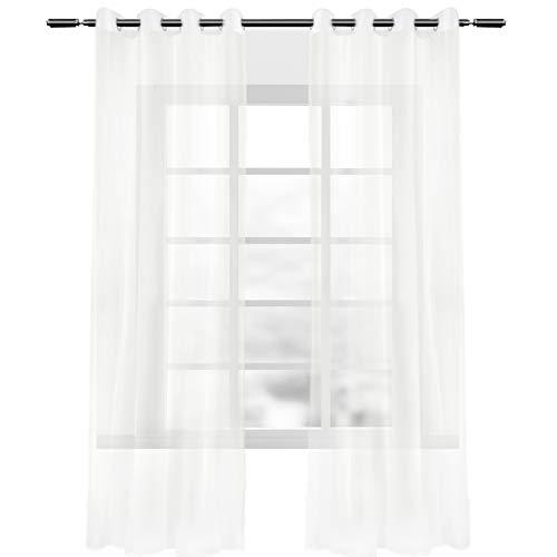 WOLTU VH5513cm-2-a, 2er Set Gardinen Vorhänge transparent mit Ösen, Doppelpack Stores Ösenvorhang Fensterschal Voile für Wohnzimmer Schlafzimmer Landhaus, 140x225 cm Creme (Beige)