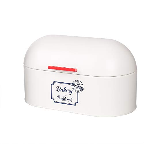 X680 Metal Storage Tin Canister Bread Box/Bin/kitchen Storage Containers/Gift (White)