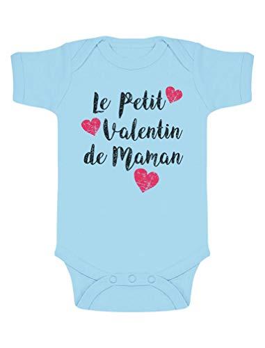 Green Turtle T-Shirts Petit Valentin de Maman Fête des Mères Body Bébé Manche Courte 0-3 Mois Bleu Ciel